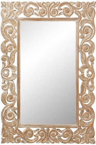 Padma Mango Wood Carved Mirror, 36''Hx24''Wx1''D, GOLD WASH by Home Decorators Collection