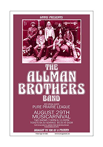 Raw Sugar Art Studio Allman Brothers 1971 Cleveland Concert Poster
