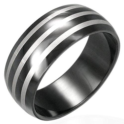 Zense-Bague-homme-en-acier-noir-Zense-ZR0021-arrondie-avec-3-bandes-couleur-acier