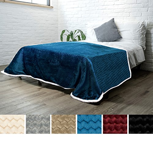 (PAVILIA Deluxe Sherpa Fleece Blanket for Twin Bed, Couch, Sofa Super Soft, Plush, Fuzzy Chevron Throw | Reversible, Comfy Wavy, Textured Blue Turquoise Lap Blanket for Home (60 x 80)
