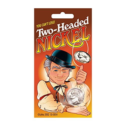 Loftus Two-Headed Nickel Prank Magic Trick Make Your Own Luck, Silver