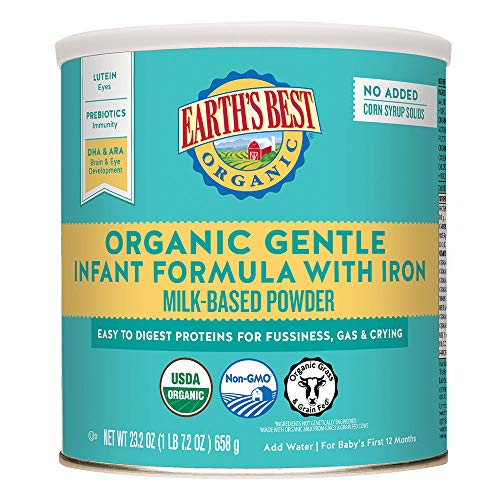 Earth's Best Organic Gentle Infant Powder Formula with Iron, Easy To Digest Proteins, 23.2 oz. (Earths Best Organic Infant Powder Formula With Iron)