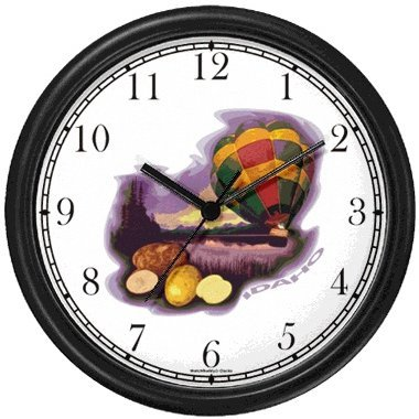 - Idaho Icons - Potatoes, Hot Air Balloon - American Theme Wall Clock by WatchBuddy Timepieces (White Frame)