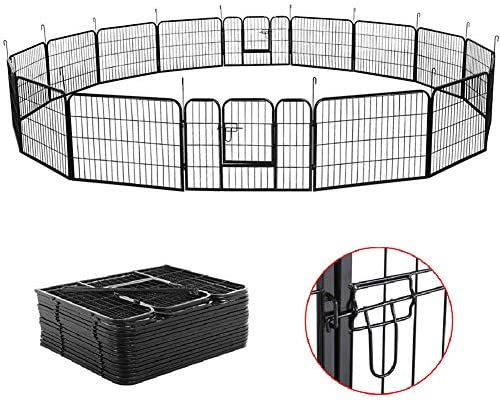 Auxega Dog Playpen – Pet Dog Puppy Cat Exercise Fence Barrier Playpen Kennel Heavy Duty Portable Metal Pets Playpen 16 Panels for Outdoor Indoor 31.5 inch x 24 inch Black
