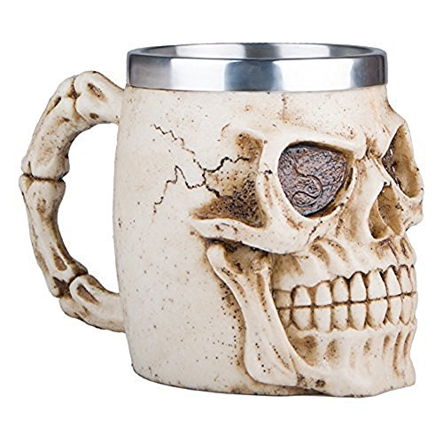 Gothic 3D Skull Coffee Mug -- Stainless Steel Drinking Cup Mug for Beverage,Coffee,Beer,Blood Juice,Medieval Fiendish Pirate Bone Skull Drinkware Tankard Mug, Halloween Decor, Party Trick Cup