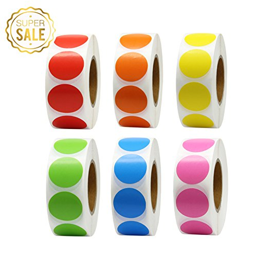 Hcode 1 Inch Color Coding Label Garage Sale Stickers Blank Yard Sale Price Stickers Round Colorful Stickers Permanent Adhesive Dots Writable Paper Labels 6000 Pieces (6 roll, ()