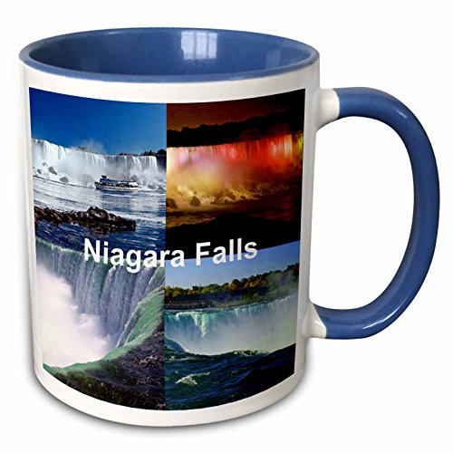 3dRose 21724_6 Niagara Falls Collage-Two Tone Blue Mug, 11 oz, -