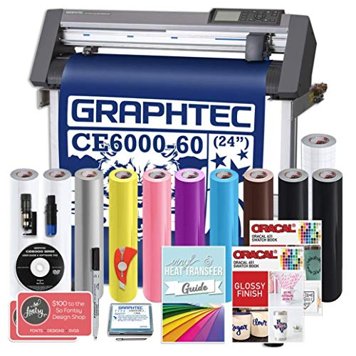 Graphtec Plus CE6000-60 24 Inch Professional Vinyl Cutter with Bonus $700 in Software, 2 Year Warranty, Oracal Vinyl, and More