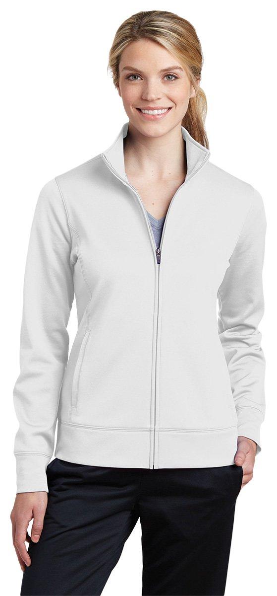 Sport-Tek Women's Sport-Wick Fleece Full-Zip Jacket LST241 White Small