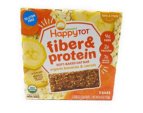 Happy Baby Tot Fiber and Protein Organic Soft-Baked Oat Bar Bundle: 1 Box of Apples & Spinach, 1 Box of Bananas & Carrots(2 boxes total)