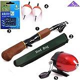 BNTTEAM Geschlossen Angelrolle und Stange Combos Teleskopische Portable Hand Hart 99% Carbon Sea Fishing Rod & Reel + Kunstköder + Angelschnur Set