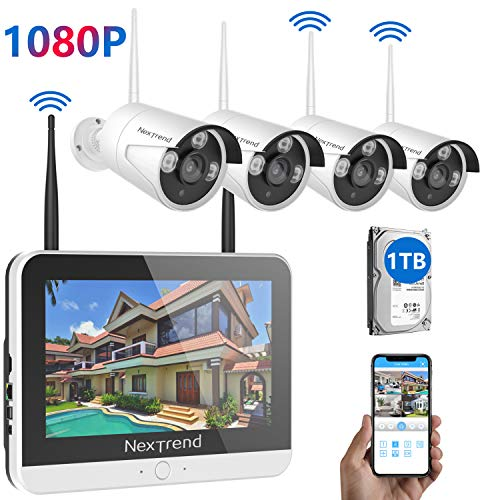 [All in 1] Wireless Security Camera System with Monitor, NexTrend 8CH Security Camera System with 12″ HD Monitor, 4pcs 1080P Security Cameras Indoor/Outdoor Security System, with 1TB Hard Drive