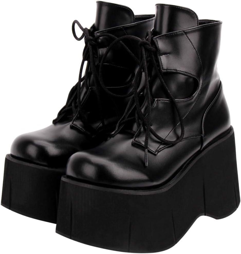 HHXXTTXS Zapatos Winter Street Botas de Puntera de tacón de Herradura Botas con Cordones Delanteros Zapatos de Cuero Zapatos Mary Jane de muñeca