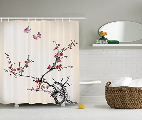 Ambesonne Watercolor Flowers Decor Collection, Spring Cherry Branches Flowers and Butterflies Classic Print, Polyester Fabric Bathroom Shower Curtain Set with Hooks, 75 Inches Long, Paprika Pink (Party City In Coral Springs)