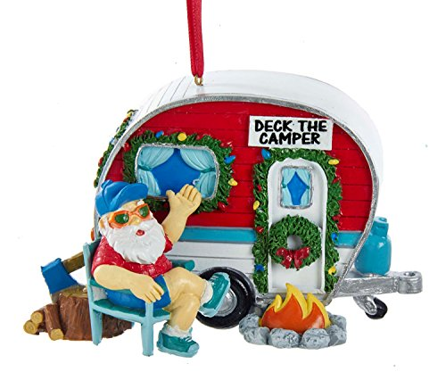 Vintage Santa Camper made our list of the most unique camping Christmas tree ornaments to decorate your RV trailer Christmas tree with whimsical camping themed Christmas ornaments!