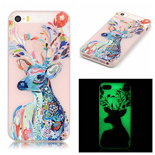 Cuitan Noctilucent Glow in The Dark Soft TPU Back Cover for iPhone 5 / 5S / SE, Colorful Deer Pattern Design Fashion Transparent Luminous Ultra Slim Flexible Protective Case Cover Shell Skin Protection Sleeve for Apple iPhone 5 / 5S / SE - Colorful Deer
