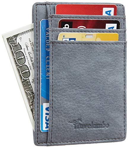 Travelambo Front Pocket Minimalist Leather Slim Wallet RFID Blocking Medium Size (Oldo Blue Vintage) ()