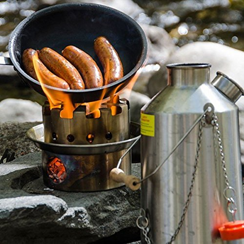 Kelly Kettle Small Stainless Steel Hobo Stove Kit - Stick Stove for Backpacking