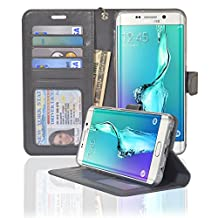 Samsung Galaxy S6 Edge Plus Folio Wallet Case, [Kickstand Feature] [Soft Silicon Protection] - Navor (Gray)