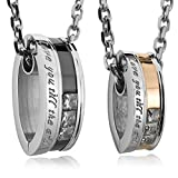 INBLUE Men, Women's 2-Piece Stainless Steel Pendant Necklace CZ Silver Gold Tone Black Couple with 20-Inch and 23-Inch Chain