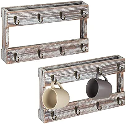 MyGift Wall-Mounted Torched Wood 8-Hook Coffee Mug Hanging Rack, Set of 2
