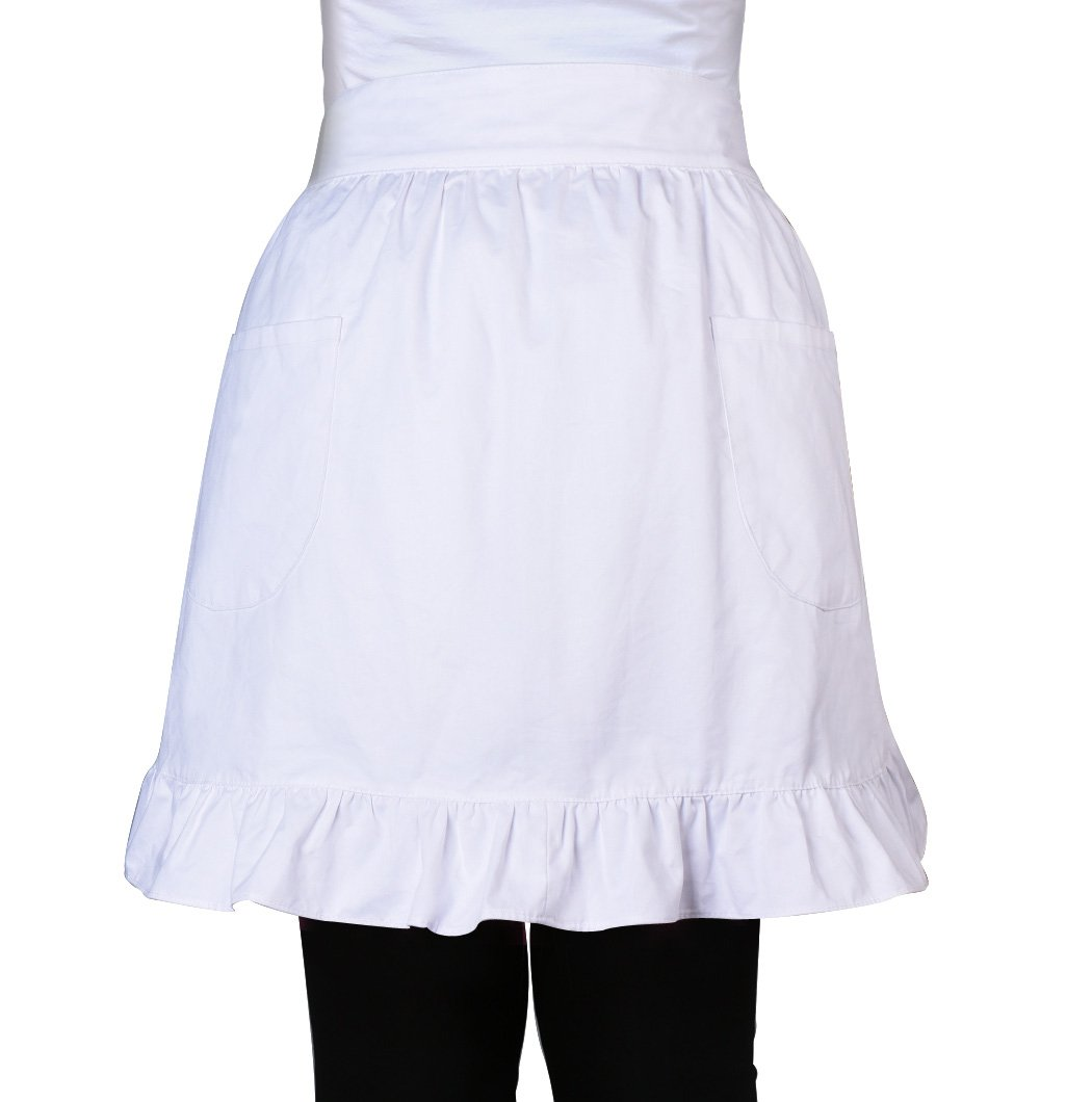100% Cotton 2 Pockets Waist Apron Kitchen Cooking Restaurant Bistro Half Aprons for Girl Woman, White