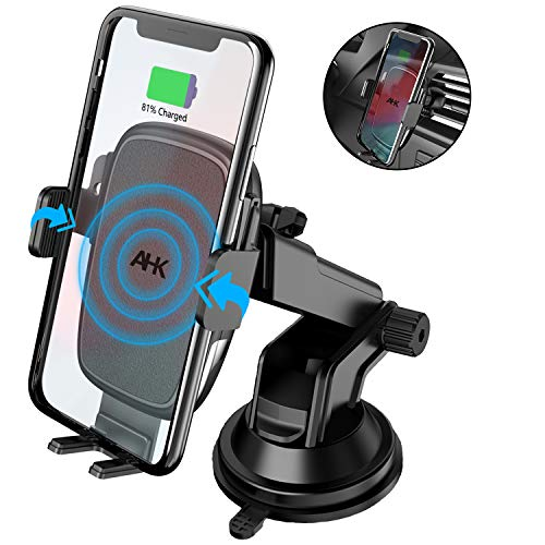 AHK Wireless Car Charger Mount,Auto-Clamping Qi 10W/7.5W Fast Charging 5W Car Mount, Windshield Dashboard Air Vent Phone Holder Compatible with iPhone Xs Max XR 8 Plus, Samsung S10 S9 S8 (Black)