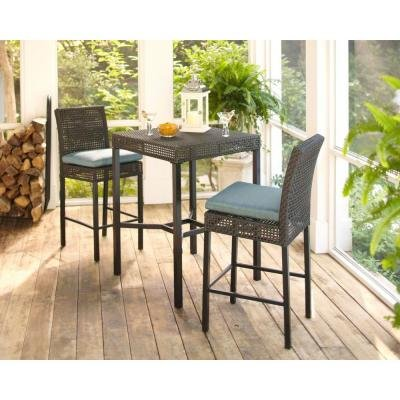 Hampton Bay Fenton 3 Piece Outdoor Patio High Bar/Bistro Set With  Decorative Peacock