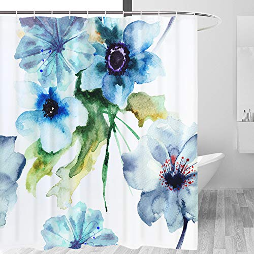 Watercolor Flower Shower Curtain Retro Style Floral Art Bathroom Curtain