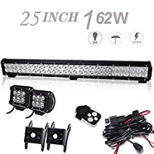 DOT 25In Led Light Bar On Front Bumber Bull Bar Push Bar Grille With 4In Pods Cube Fog Lights For Truck Dodge Ram Jeep Chevy Tahoe Vw Jetta Toyota Xterra Trailer Suzuki Boat Mower 4Wheeler Ford