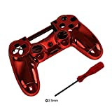 eJiasu Replacement Chrome ABS Plating Housing Shell Case Cover for PS4 Playstation 4 Controller (1pc Red Case with Screwdriver)
