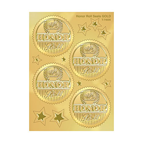 TREND enterprises, Inc. Honor Roll (Gold) Award Seals Stickers, 32 ct. (Honor Roll Stickers)