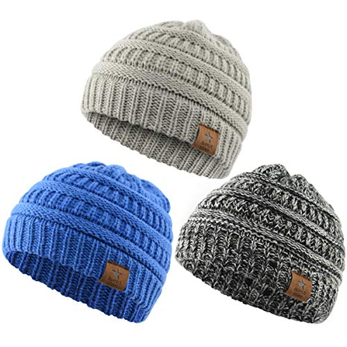 Durio Soft Warm Knitted Baby Hats Caps Cute Cozy Chunky Winter Infant Toddler Baby Beanies for Boys Girls 3 Pack Black White & Light Grey & Blue