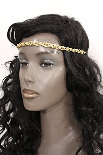 TFJ Women Classic Fashion Hair Jewelry Headband Simple Gold Metal Chain Links Forehead Circlet Party (Halloween Castume)