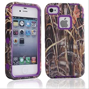 5 Color Straw Grass 3 in 1 Hybrid Armored silicone Case cover for iPhone 4 4s 4G Purple