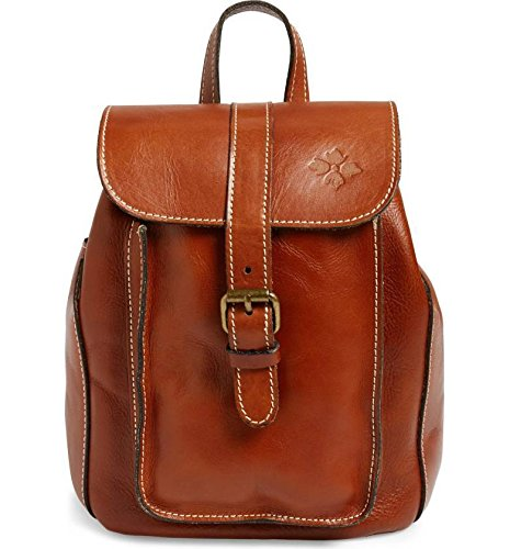 Patricia Nash Heritage Aberdeen Tan Leather Drawstring Small Backpack