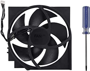 Tangxi Internal Fan, Internal Cooling Fan with 5 Blades 4Pin for for Xbox One S 12.512.42.3cm/4.94.90.9inch Case Fan with Screwdriver