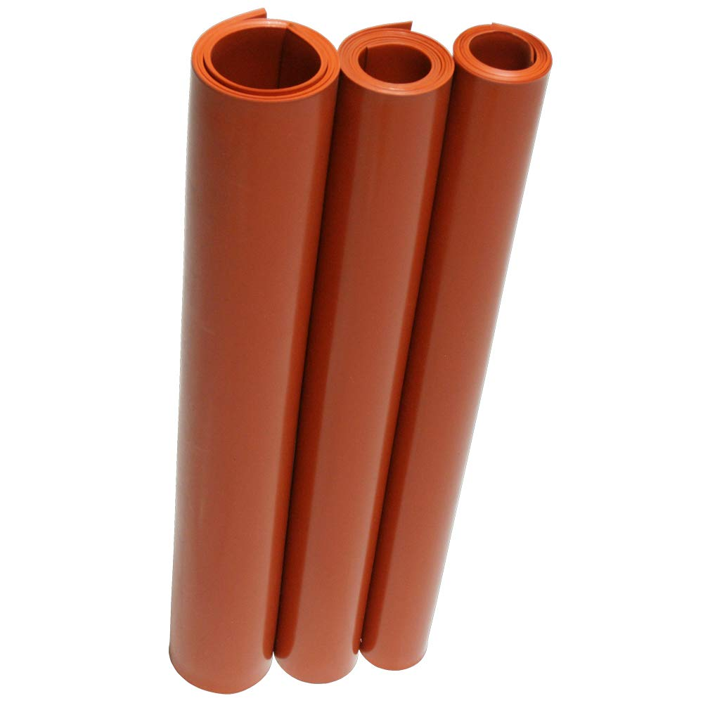 No Backing 0.062 Thickness Smooth Finish 12 Width Orange Silicone Sheet 12 Length 70A Durometer