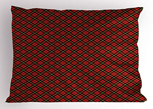 (K0k2t0 Geometric Pillow Sham by, Traditional Scottish Plaid Pattern Tartan Tile Checked Striped Retro Print, Decorative Standard Queen Size Printed Pillowcase, 30 X 20 Inches, Red Black Yellow)