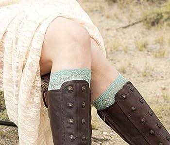 Womens Stretch Lace Boot Cuffs (Mint Green)