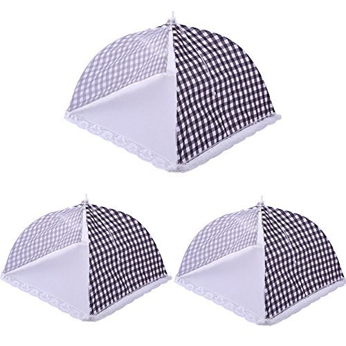 Large Pop-Up Mesh Screen Food Covers Tent 3 Pack - 12.6''x 12.6'' Collapsible and Reusable Tabletop Food Net Umbrella Protector Tents Keep Out Flies, Bugs, Mosquitos for Outdoor BBQ Picnic Wedding Party by AIYoo
