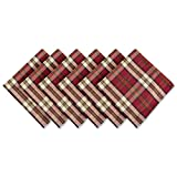 """DII Campfire Plaid 100% Cotton Oversized Napkin for Holidays, Family Gatherings, & Christmas Dinner - Set of 6 (20x20"""")"""