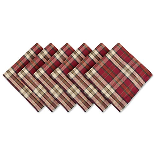 Cotton Napkin, Pack of 6, Campfire Plaid - Perfect for Fall, Thanksgiving, Farmhouse Décor, Christmas, Picnics & Potlucks or Everyday Use (Ornament Collection Set)