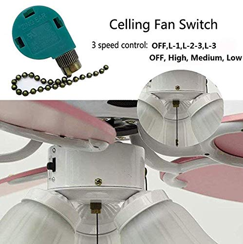 Ceiling Fan Switch Pull Chain Cord Control 3 Speed 4 Wire, Wall lamps Rotary Speed Control Pull Chain 4 Wire Switch for Ceiling Fans, Nickel