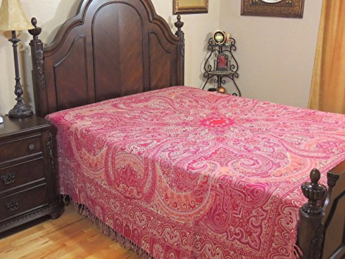 NovaHaat Magenta, Hot Pink and Ivory Paisley Wool Bedding - Kohinoor (Mountain of Light) REVERSIBLE Indian Bedspread with Mughal motifs from Kashmir - Queen 108 Inch x 90 Inch or Use as Blanket - Throw Mughal
