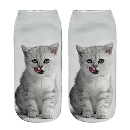 sweetnice Girls And Boys Short Socks 3D Cat Printed Short Anklet Socks Casual Low Cut Socks (gray)