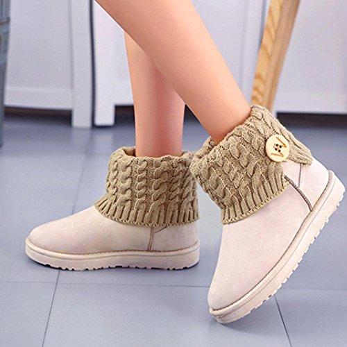 Snow TM Knitting Flat Beige DEESEE Winter Shoes Wool Women Ankle Boots Warm 7dzIRqw