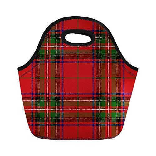 Semtomn Lunch Bags Stuart Red Checkered Clan Stewart Scottish Royal Tartan Plaid Neoprene Lunch Bag Lunchbox Tote Bag Portable Picnic Bag Cooler - Royal Tartan Stuart