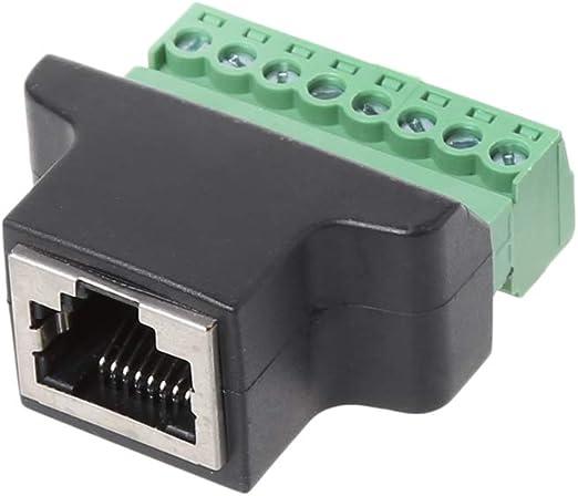 Covvy Rj45 Femmina a 8 Pin Morsetto a Vite Termine Connettore Cat7 Cat6 Cat5 Cat5e Ethernet Cavo Extender Adattatore CCTV Digitale Dvr Adattatore di Rete Accoppiatore in Linea Nero