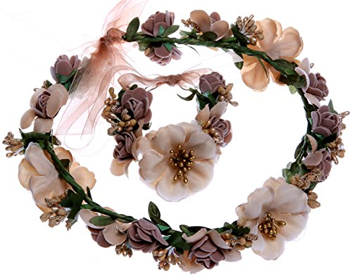 Anleolife Fake Craft Foam Flower Crown Headbands For Wedding Adjustable Ribbon Maternity Photos Wristband for Newborn Shoot Wrist Band Set 2pcs/lot (coffee)
